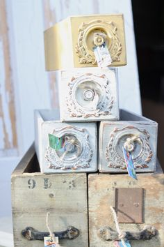 Vintage sewing machine drawers.  These are so cool!
