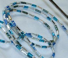Fine Sky Blue & Silver Beaded Eyeglass Lanyard Chain by nonie615, $22.00