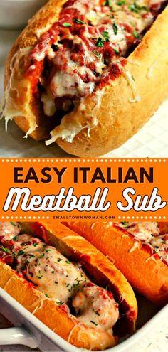 Meatball Sub Recipe, Meatball Subs, Meatball Recipes, Beef Recipes, Cooking Recipes, Meatball Sandwiches, Homemade Italian Meatballs, Tasty Meatballs, Lunch Recipes