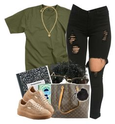 """""""Back to School // Senior Style"""" by msyorkieluver ❤ liked on Polyvore featuring Rothco, Sunday Somewhere, Louis Vuitton, Puma, Versace, BackToSchool and senior"""