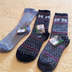 3 pair of angora blend socks, size 9-11 Light blue pair, black and red snowflake, grey and pink snowflake Accessories Hosiery & Socks