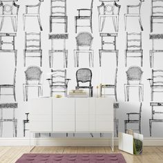 A simple but effective design featuring line drawings of different types of chairs.