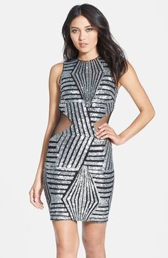 Dress the Population 'Blake' Sequin Mesh Inset Body-Con Dress
