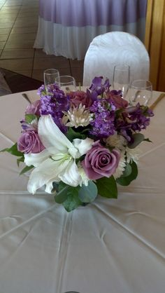 Lovely lavender for guest dining tables by Michael's Flower Girl