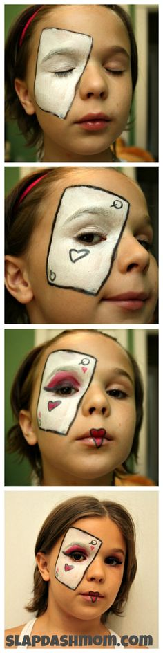 Queen of Hearts Makeup Tutorial - SUPER EASY! This tutorial was completed by an 11 year old! And using supplies that are already in your makeup drawer!
