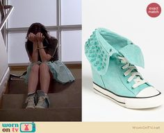 Aria's black jewel studded top and mint green pleated skirt and studded high tops on Pretty Little Liars. Outfit Details: http://wornontv.net/17350