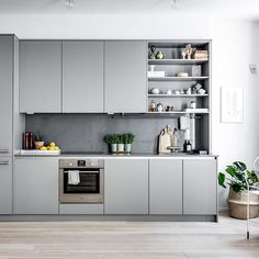 The kitchen set's inspiration is more beautiful and more beautiful is the order - Kitchen Decor Loft Kitchen, Kitchen Sets, Apartment Kitchen, Kitchen Living, Kitchen Decor, Grey Kitchen Interior, Grey Kitchens, Modern Kitchen Design, Home Kitchens