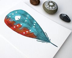 Feather Painting - Watercolor Art - Archival Print - 8x10 Coral  Sea Feather