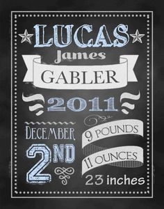 baby gift personalized art chalkboard style by AveQcollection