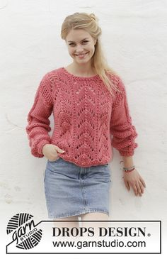 Blushing Beauty / DROPS - Free knitting patterns by DROPS Design Blushing Beauty / DROPS - Knitted pullover with lace pattern. Sizes S - XXXL. The piece is worked in 2 strands DRO. Lace Knitting, Knitting Patterns Free, Crochet Lace, Crochet Poncho, Free Pattern, Drops Design, Crochet Baby Clothes, Lace Sweater, Cardigan