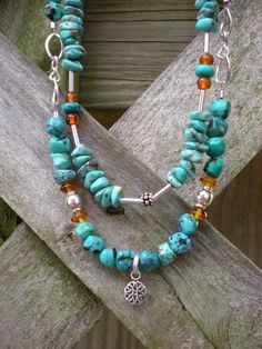 Desert Oasis beaded necklace turquoise and by greygirldesigns, $168.00