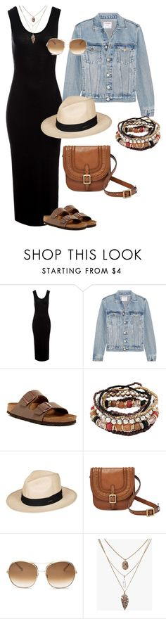 """""""Casual Weekend Outfit"""" by dre68 on Polyvore featuring Sans Souci, Frame, Birkenstock, Roxy, FOSSIL, Chloé and casualcomfy"""