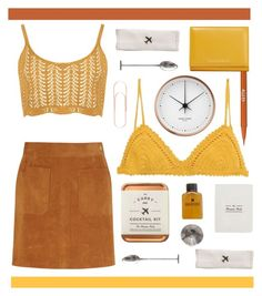 """""""mustard."""" by randomfashioncollections ❤ liked on Polyvore featuring Georg Jensen, W&P Design, SHE MADE ME, Stila, Dolce&Gabbana, Frame Denim, WearAll, brown, mustard and copper"""