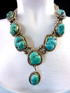 185g Vintage Navajo Sterling Silver Necklace w 8 HUGE Kingman Turquoise Nuggets! Designed In Classic Squash Blossom Tradition! Circa 1940's.