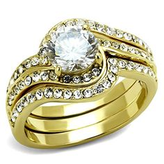 Womens Ion Plated Gold Stainless Steel Round Cut Cubic Zirconia 3 Stack Ring Set >>> To view further for this item, visit the image link.