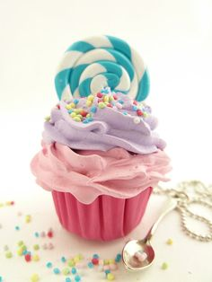 Lollipop Cupcake Necklace with small spoon Charm