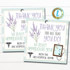 Nurse Appreciation Gift Tags! These awesome medical staff nurse thank you gift tags are great to use for the frontline medical workers in your community - doctors, nurses and medical staff. Great for nurse appreciation week too! Simply edit, print, hole punch and tie around any type of gift show your appreciation! ____