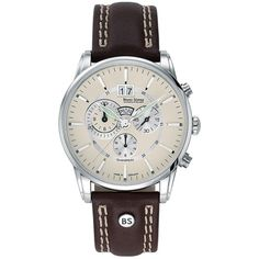 This Bruno Sohnle 'Atrium Chrono'  is a handsome gents watch with a dark brown leather strap and quartz movement.