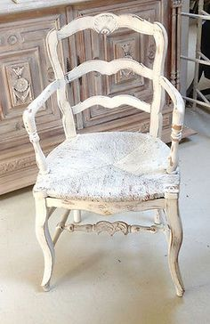 Wonderful old French Painted Carver Chair
