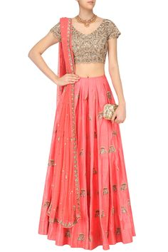 Coral gingko butti embroidered lehenga skirt and blouse set available only at Pernia's Pop Up Shop.