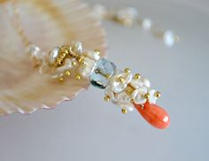Coral Pearls and  Aqua Quartz Necklace by ChaninBijoux on Etsy, $85.00