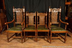 Canonbury - Set 8 Antique William and Mary Carved Dining Chairs Oak Kitchen Chair Queen Anne Chair, Antique Dining Chairs, Chippendale Chairs, William And Mary, Kitchen Chairs, Dining Set, Carving, Victorian, Antiques