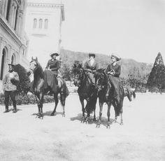 Grand Duchesses Olga and Tatiana of Russia riding horses in 1912. by historyofromanovs
