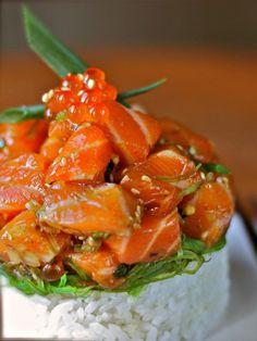 Hawaiian Salmon Poke - easier than sushi, simple, and delicious!