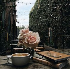 book, coffee, and rose image