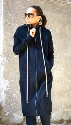 NEW Fall Black Extravagant Maxi Hooded Cotton Top by Aakasha