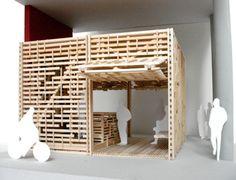 Architecture Model made of wooden sticks. Ramen, Architecture Model Making, Wood Sticks, Cube, 3d Printing, Furniture, Home Decor, Maquette Architecture, Impression 3d