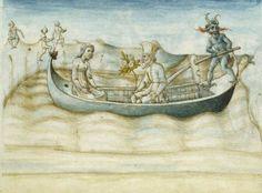 Book VI Aeneas being ferried across the Styx. Virgil,Aeneid. Ferrara, 1458.