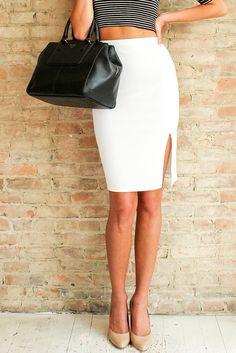 HALSEY PENCIL SKIRT - White | Glamour and Glow #pencilskirt #whiteskirt #slit #madeintheusa #elasticwaist #glamourandglow