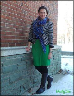 Green pencil skirt, fleece-lined tights, black riding boots, striped blazer, blue scarf. #OOTD #winter
