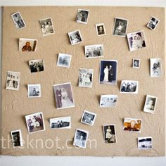 The couple displayed old family photos and pictures from their 7-year relationship on bulletin boards covered with burlap.
