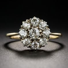 Victorian Diamond Cluster Ring - Vintage Diamond Engagement Rings - Vintage Engagement Rings