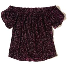 Hollister Off-The-Shoulder Velvet Top (197815 PYG) ❤ liked on Polyvore featuring tops, burgundy, purple off shoulder top, burnout top, velvet off the shoulder top, patterned tops and velvet top