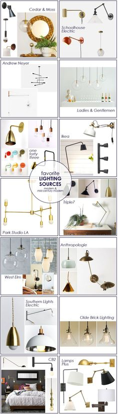 A roundup of my favorite modern & mid-century modern lighting sources.