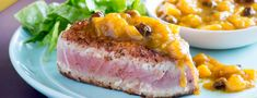 Blackened Tuna with Banana Mango Chutney