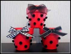 Items similar to Ladybug Party Containers Set of 3 for Favors, Centerpieces, Buffet Table, Dessert Table on Etsy Ladybug Centerpieces, Birthday Party Centerpieces, Party Favors, Ladybug 1st Birthdays, First Birthdays, Miraculous Ladybug Party, Tissue Paper Decorations, Ladybug Crafts, First Birthday Parties