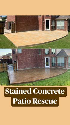 Small Backyard Design, Backyard Patio Designs, Small Backyard Landscaping, Backyard Ideas, Porch Ideas, Diy Patio, Patio Ideas, Stained Concrete, Concrete Floors