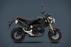 Honda Grom |  Fun for experienced riders but small enough to be handled by first-timers, the Grom features a 125cc fuel-injected engine paired to a four-speed transmission, a low 29.7-inch seat, a curb weight of just 225 pounds, 12-inch 10-spoke wheels, hydrailic disc brakes, and an LED taillight and projector-style headlamp. ( $3,000+ )
