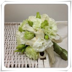 Wedding Bouquet- Mint Eustomas with Ivory roses in elegant olive satin finished with country lace