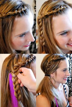 Braids and side pony http://asubtlerevelry.com/wp-content/uploads/2011/06/how-to-put-a-pink-feather-in-your-hair.jpg