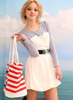 Long sleeve sailor stripe 2-in-1 dress www.ustrendy.com