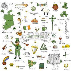 Gl cklichen St Patrick Tag doodle Irland gesetzt Illustration Sketchy traditionelle irische Lebensmi Lizenzfreie Bilder
