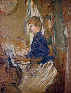 At the Piano Madame Juliette Pascal in the Salon of the Chateau de Malrome, 1896, Henri de Toulouse-Lautrec