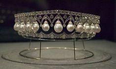 """Tiara of pearls and diamonds made for Empress Alexandra Feodorovna, wife of Nicholas I, by the Swedish jeweler Bolin in 1843. It was sold after the Revolution, when it was bought by the Duke of Marlborough for his wife Gladys, who later sold it in her turn. On this occasion it was bought by Imelda Marcos. It is rumoured that this is the tiara that Imelda had dismantled to make it """"more wearable""""."""