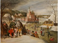 """WINTERVERGNÜGEN AUF DEM EIS, UM 1607 Öl auf Holz. 38,8 x 50,5 cm. Links unten signiert """"Abel Grimmer fecit"""". Dem Gemälde ist eine Expertise von Dr...."""
