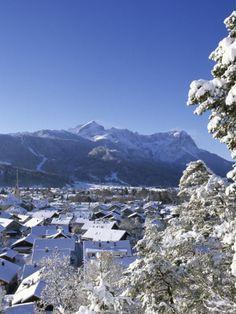 Cityscape of Garmisch-Partenkirchen, Werdenfelser Land, Bavaria, Germany